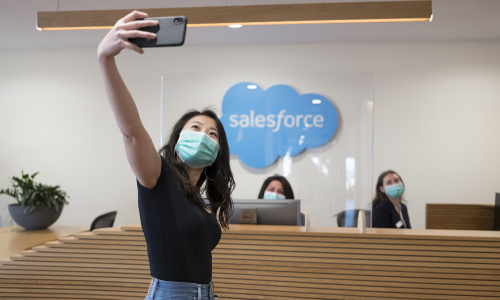 A Salesforce worker taking a selfie.